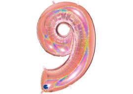 XXL Cijferballon 9 Glitter Rose Gold