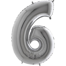 XXL Cijferballon 6 Zilver