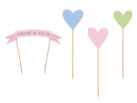 Cake topper: Everything you wish for, hartjes