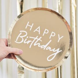 Happy Birthday gouden bordjes