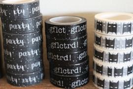 Masking tape zwart met witte tekst GFLCTRD!