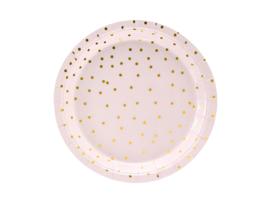 Roze bordjes met gouden dots, 18cm 6 stuks