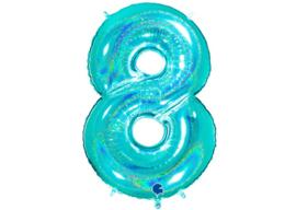 XXL Cijferballon 8 Glitter Aqua/Mint