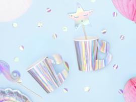 Papieren iridescent bekers, 220ml 6 stuks