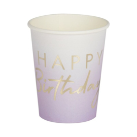Lilac Ombre bekers - Happy birthday (8 stuks)