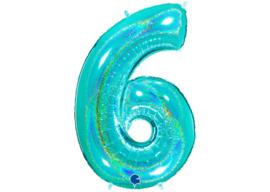 XXL Cijferballon 6 Glitter Aqua/Mint