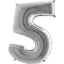 XXL Cijferballon 5 Zilver