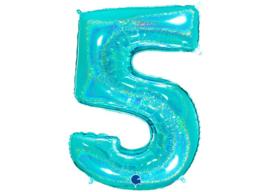 XXL Cijferballon 5 Glitter Aqua/Mint