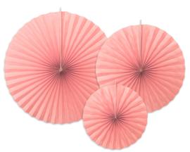 Papieren waaiers blushy pink (3 st)