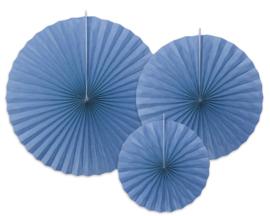 Papieren waaiers korenbloem blauw (3 st)