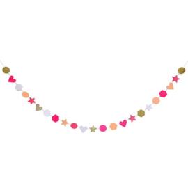 Roze en gouden glitter slinger 4m