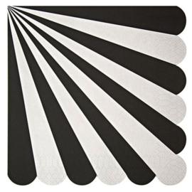 Zwart wit gestreepte servetten  20st