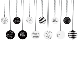 Monochrome Christmas Tags incl. touw (12 st)