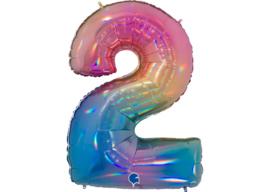 XXL Cijferballon 2 Regenboog