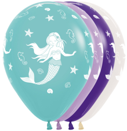 Bedrukte Zeemeermin ballonnen, 5 stuks