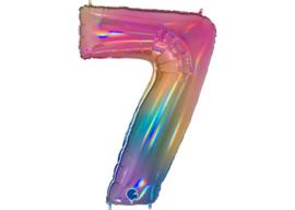 XXL Cijferballon 7 Regenboog