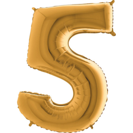 XXL Cijferballon 5 Goud