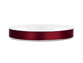 Satijn Lint, Diep Rood, 6mm - 25m