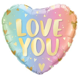 Folieballon Love You ombre hart 45cm