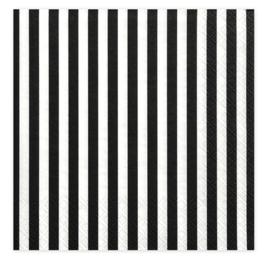 Servet strepen zwart/wit