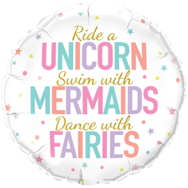 Folieballon Ride a Unicorn, Swin with  mermaids 18inch/45cm