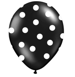 Ballon Black - White Dots (6 st)