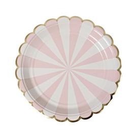 Roze wit gestreepte bordjes 8st