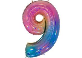 XXL Cijferballon 9 Regenboog