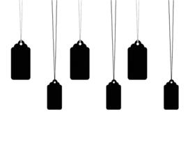 Gift tag zwart incl. touw (6 st)