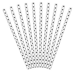 Papieren Rietjes wit met zwarte dots (10 st)