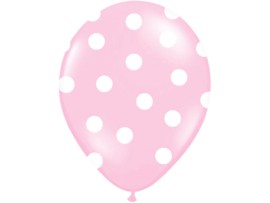 Ballonnen, pastel roze met witte dots 30 cm (10 st)