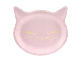 Katten bordjes roze, 6 stuks