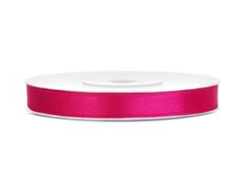 Satijn Lint, donker roze, 6mm - 25m