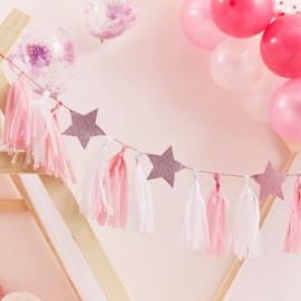 Roze tassel slinger met roze glitter sterren