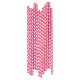 Papieren Rietjes Chevron Roze
