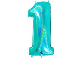 XXL Cijferballon 1 Glitter Aqua/Mint