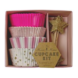 Roze ster cupcake kit