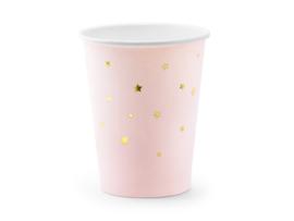 Bekers roze met gouden ster 260ml (6 st)