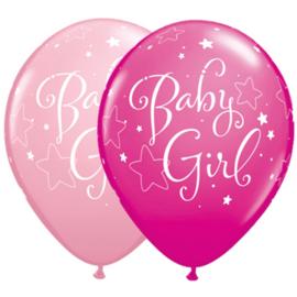 Baby Girl stars ballonnen, 5 stuks