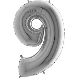 XXL Cijferballon 9 Zilver