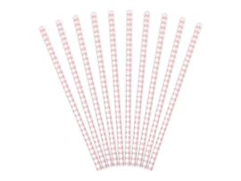 Papieren rietje, wit/roze diamant patroon (10 st)