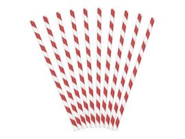 Papieren rietjes rood gestreept (10 stuks)
