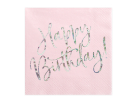Happy B'day servetten, licht roze, 20 stuks