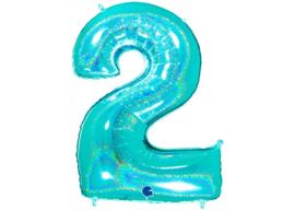 XXL Cijferballon 2 Glitter Aqua/Mint