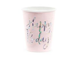 Happy B'day bekers, licht roze, 220ml 6 stuks