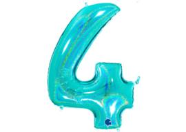 XXL Cijferballon 4 Glitter Aqua/Mint
