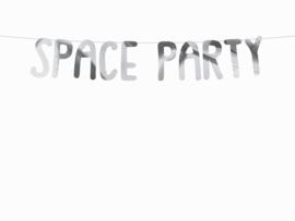 Zilveren banner Space Party