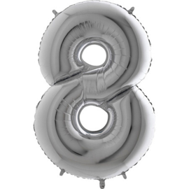XXL Cijferballon 8 Zilver