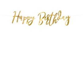 Banner happy birthday goud