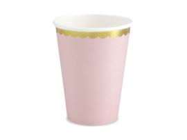 Papieren bekers, licht roze, gouden rand 220ml (6 st)